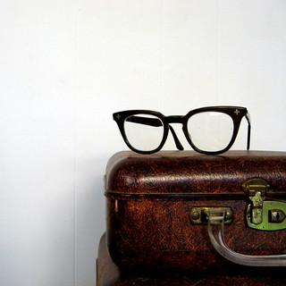 brown plastic eyeglasses, by Aden
