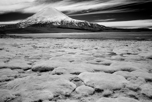 chile trip travel vacation sky bw white mountain lake snow black beach nature grass weather stone clouds canon dark landscape ir eos nationalpark moss high reisen flickr day 300d view cloudy outdoor top altitude may line national shore atacama summit andes infrared botanic 20mm gps canoneos300d gravel parinacota wikinger 2011 ajata 11ch regióndetarapacá 4523t
