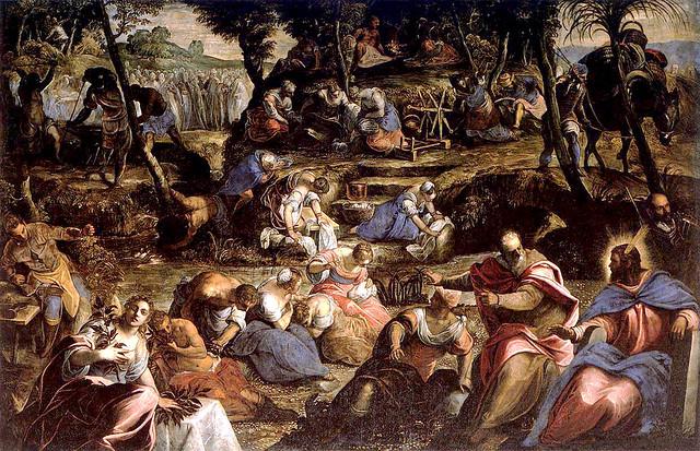 Tintoretto - Jews in Desert 1593