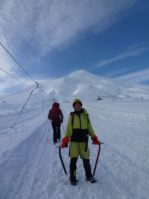 """Julia on a hike in Villarrica Volcano In Pucon Chile with appropriate snow gear"""