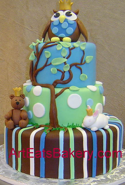Cake Designs Jackie Brown Croydon : Three tier blue, green and brown stripes and polka dots ...