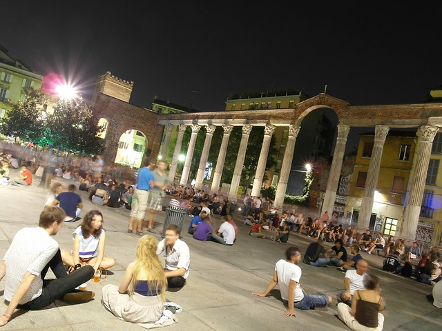The 'movida' or nightlife in Milan in the San Lorenzo columns area