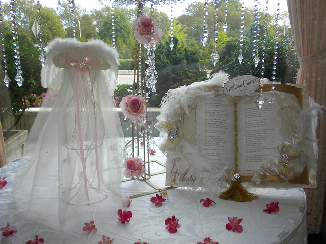 Christening doll centerpiece crystal tree
