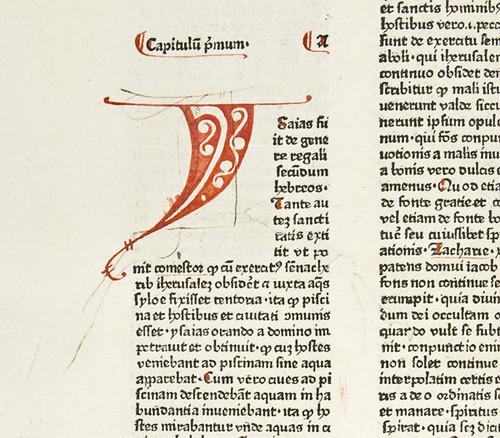 Manuscript initial with preliminary sketch in Berchorius, Petrus: Liber Bibliae moralis