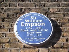 Photo of William Empson blue plaque