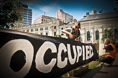 Occupy sign as barrier