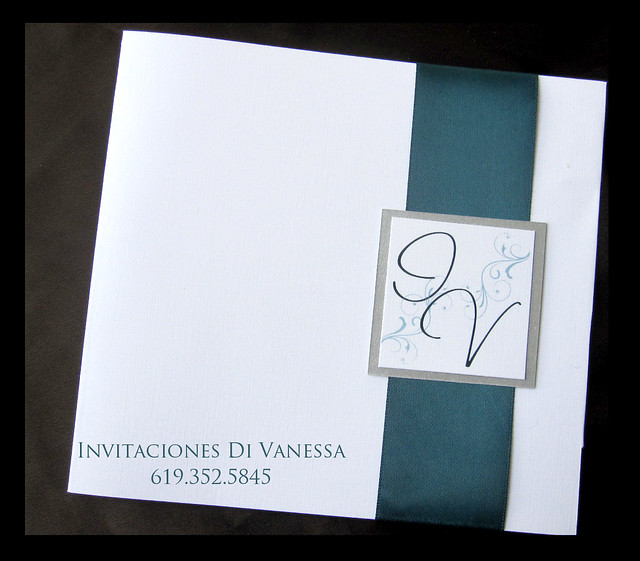 Teal and Silver wedding invitation For orders and estimates please