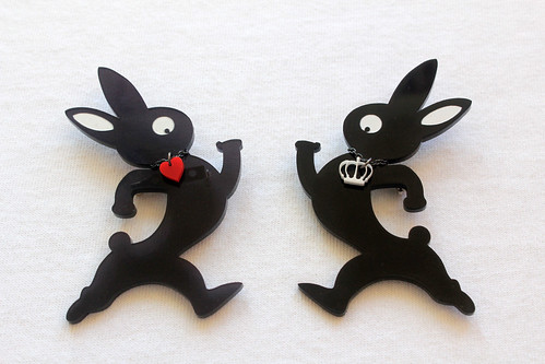 Queens Of Sounds Jewellery - QOS Logo rabbit brooch