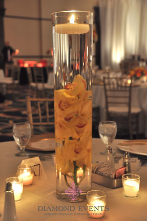 Submerged Orchid Centerpiece with Floating Candle