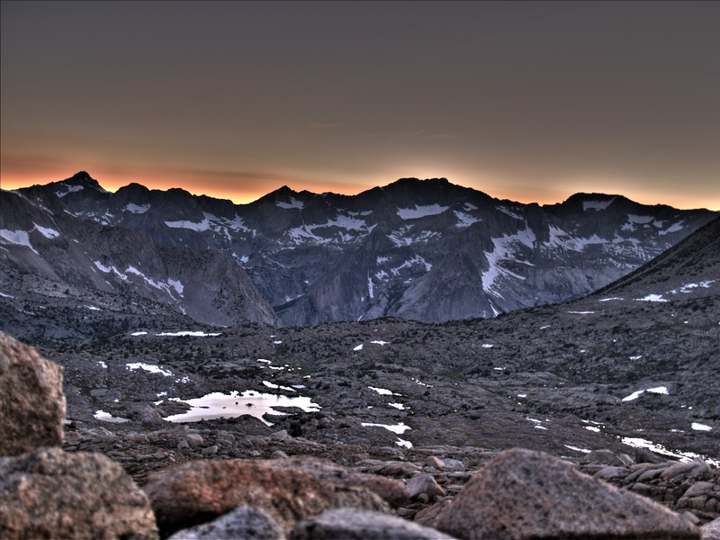 Dusy Basin sunset HDR
