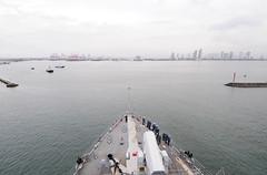MANILA, Philippines (Nov. 2, 2011) The forward-deployed amphibious dock landing ship USS Germantown (LSD 42) pulls into Manila for a port visit. (U.S. Navy photo by Mass Communication Specialist 2nd Class Casey H. Kyhl)