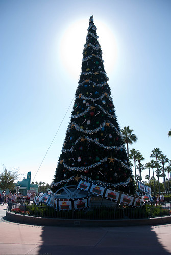 Christmas tree at Hollywood Studios entrance