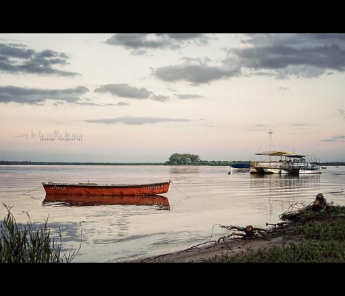sunset argentina rio river landscape atardecer paisaje entrerios colon bote luduen