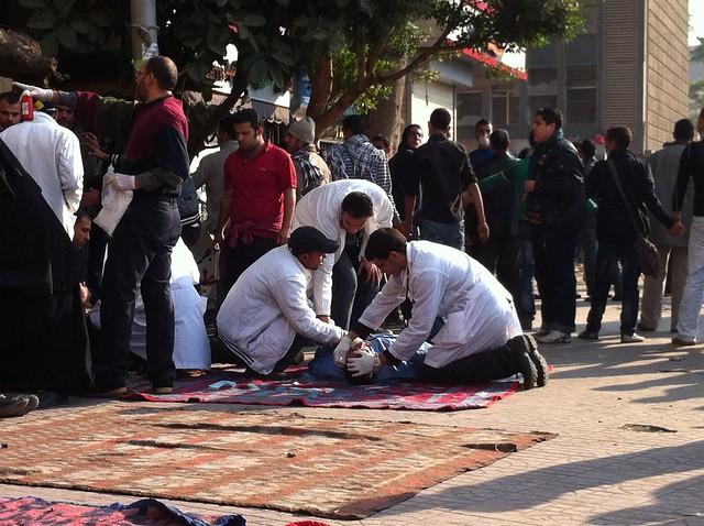Makeshift clinics in Tahrir Square during protests | Photo: Aljazeera English