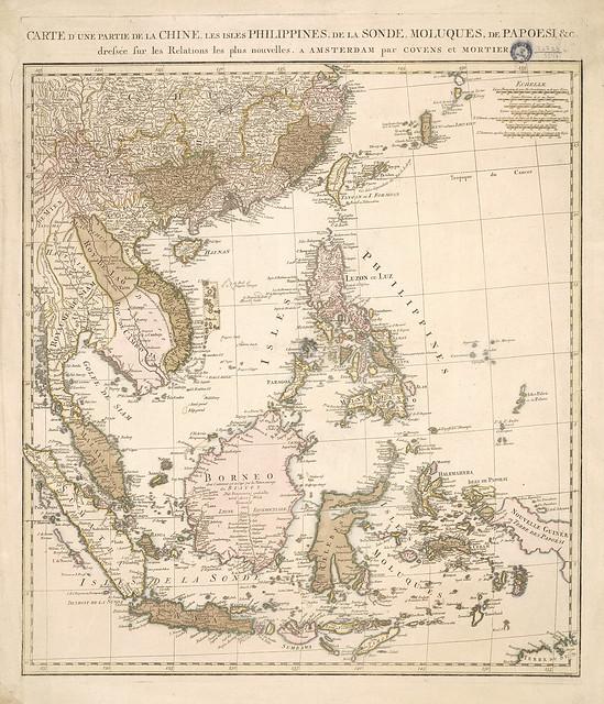 Carte d'une partie de la Chine, des Philippines, des îles Sunda, des Moluques, des Papous (1760 env.)