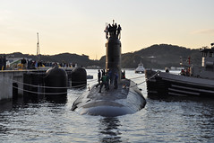 YOKOSUKA, Japan (Nov. 22, 2011) USS Texas (SSN 775) arrives at Fleet Activities Yokosuka for a posrt visit as part of its deployment to the Western Pacific Region. (U.S. Navy photo by Mass Communication Specialist 1st Class David Mercil)