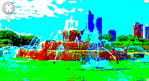 google maps 8bit streetview: Buckingham Fountain