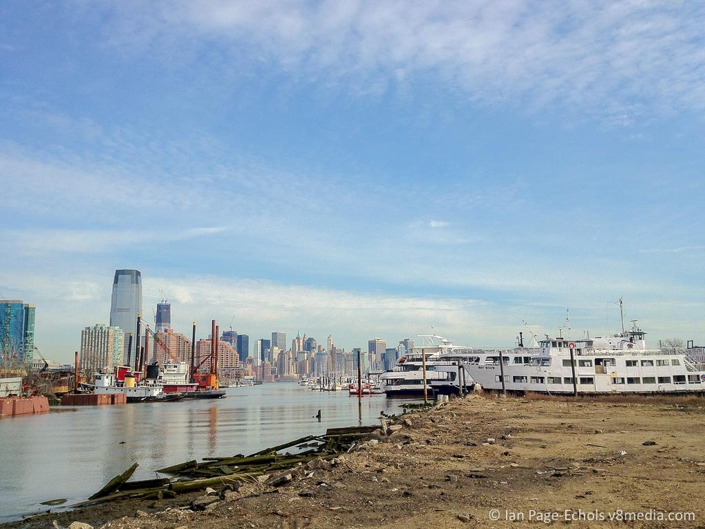 Manhattan Skyline Through Jersey City Docks