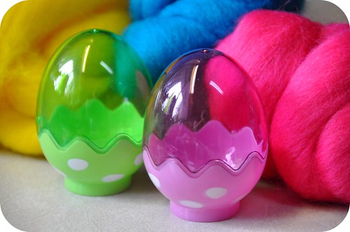 Wet felting easter eggs