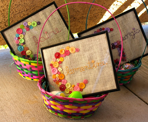 Easter Baskets with Framed Button Letters
