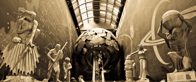 Natural History Museum London - man ... globe sculpture B&W