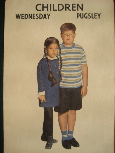 Wednesday and Pugsley Addams Family 1965 Card Game 2767 by Brechtbug