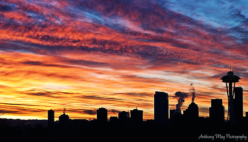 seattle silhouette skyline sunrise buildings washington queenanne pacificnorthwest wa spaceneedle kerrypark pnw urbanphotography pacificnw