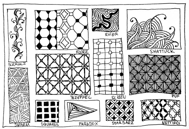 Zentangle Pattern card. | Here is a pattern card I made to p… | Flickr