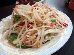 noodle(0.0), spaghetti(0.0), seafood(0.0), cellophane noodles(0.0), coleslaw(0.0), produce(0.0), vermicelli(0.0), salad(1.0), green papaya salad(1.0), food(1.0), dish(1.0), chinese noodles(1.0), pad thai(1.0), cuisine(1.0), chow mein(1.0),