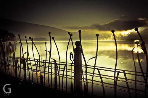 lake sunrise fence dawn golden ioannina