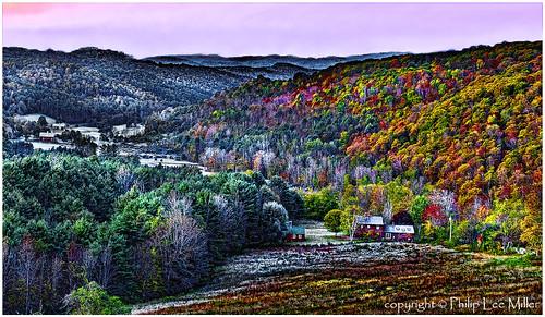 autumn nature sunrise landscape vermont fallfoliage valley woodstock frostymorning mapletrees pomfret