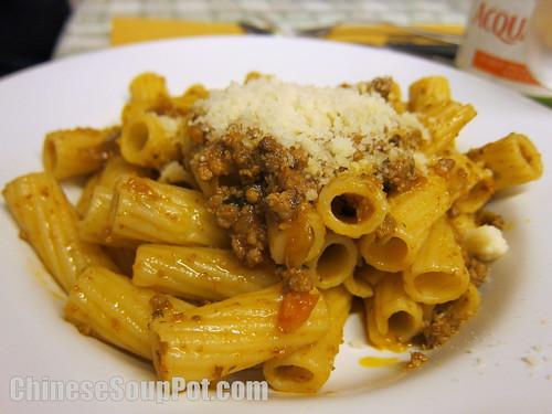 [photo-italian pasta with ragu sauce]