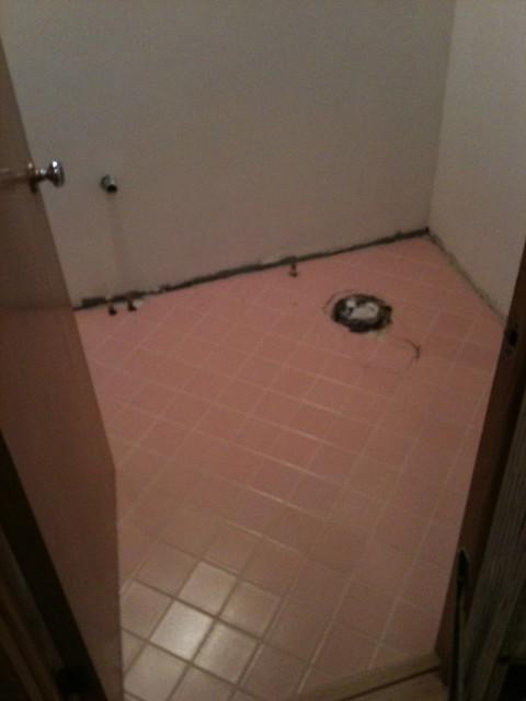 Vintage pink tile flooring bathroom flickr photo for 1950s bathroom tile floor