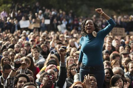 Students at the University of California at Davis during a rally. Police had pepper sprayed students demonstrating against the economic crisis. by Pan-African News Wire File Photos
