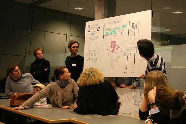 Live hand-written visualization of the Barcamp conversation. Photo by Alexey Sidorenko