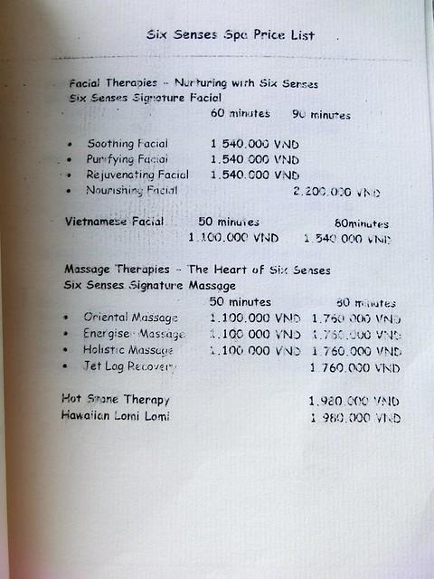"""Six Senses Spa """"treatment menu"""" 22"""