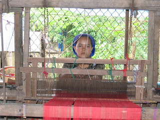 Weaver in Cham Muslim community on the Mekong River