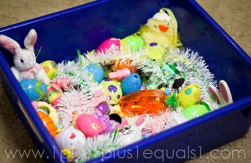 Easter Sensory Bin (Photo from 1+1+1=1)