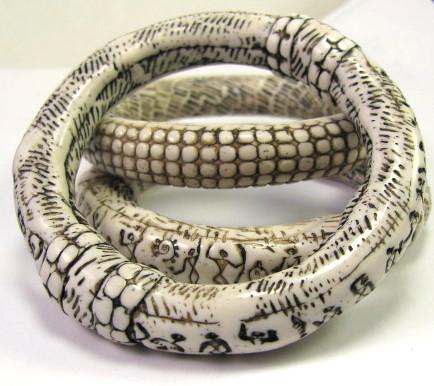 Faux Ivory Polymer Clay Bangle Bracelets