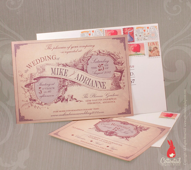 Photo Upload Wedding Invitations: Wedding Invitation With Rustic And Vintage Style