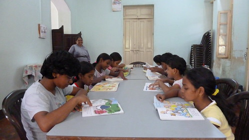 Promoting reading at the orphanages (Mapusa)