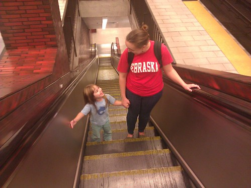 Jenny and Sprout, escalator home