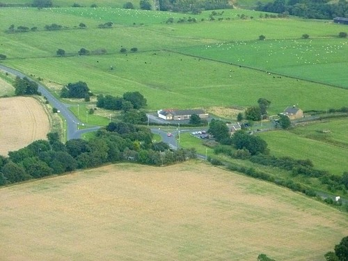 The site of the Portgate gateway from the air