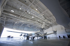 SpaceShipTwo and WhiteKnightTwo in their new home, Virgin Galactic Gateway to Space. Photo by Mark Greenberg