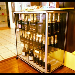 Champagne on sale in a highway gas station...in Champagne