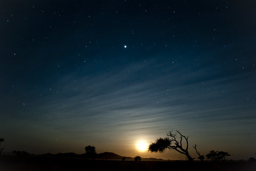 Moonrise near Ganab, Namib desert, 3