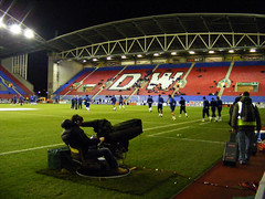 DW Stadium South Stand warmup - Wigan Athletic v Aston Villa, 16 March 2010