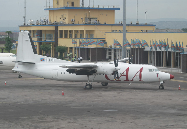 The CAA Fokker 50 9Q-CBD in Kinshasa