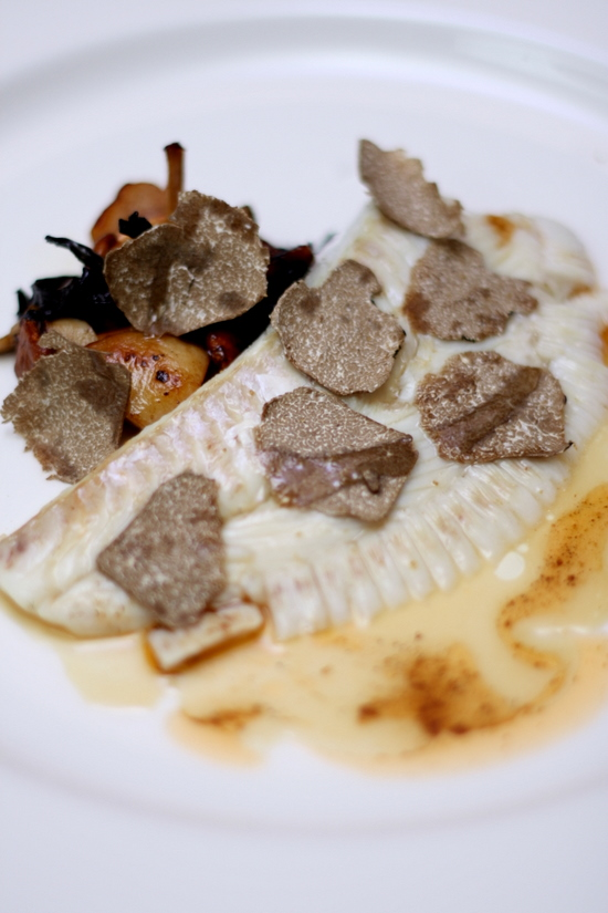 flounder with autumn truffles and mushrooms