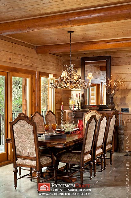 Formal Dining Room | Custom Log Home | PrecisionCraft Log Homes